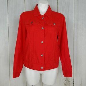 Jones New York Tomato Red Linen Shirt Jack…